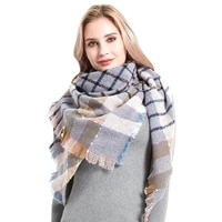factory direct sales fashion autumn and winter new plaid neck scarf ladies 100 polyester soft triangle shawl keep warm