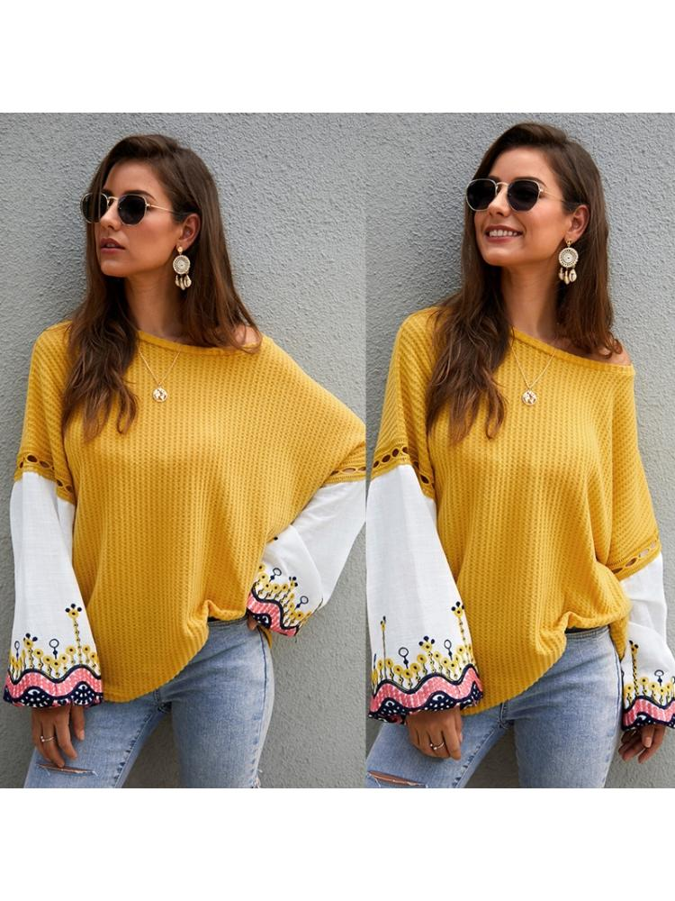Women Batwing Sleeve Sweater Floral Embroidery Patchwork Waffle Knit Loose Tops enlarge