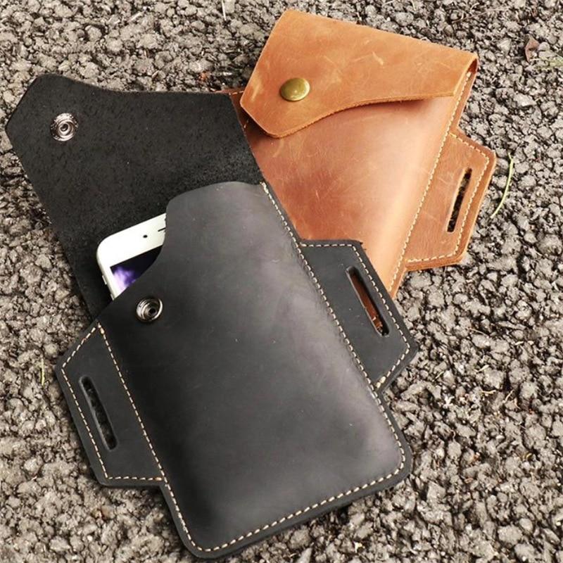 Сумка-мобильный телефон из воловьей кожи для мужчин, уличный чехол с карманом для мобильный телефон, сумка-мобильный телефон с защитой от по...