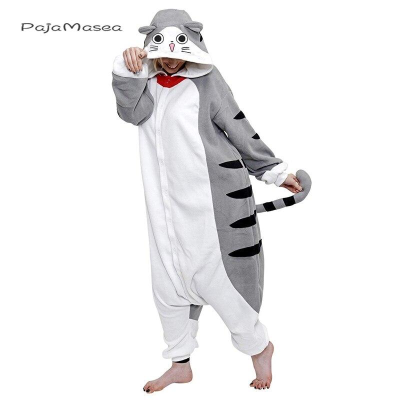 XXL Unisex mono lindo queso gato trajes pijamas de dibujos animados para adultos Kigurumi mujeres hombres Animal Cosplay Halloween Homewear traje