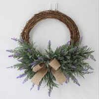Artificial Lavender Flower Wreath DIY Party Wedding Decoration Silk Cloth Fake Flowers Garland Home Decor Door Knocker Ornament