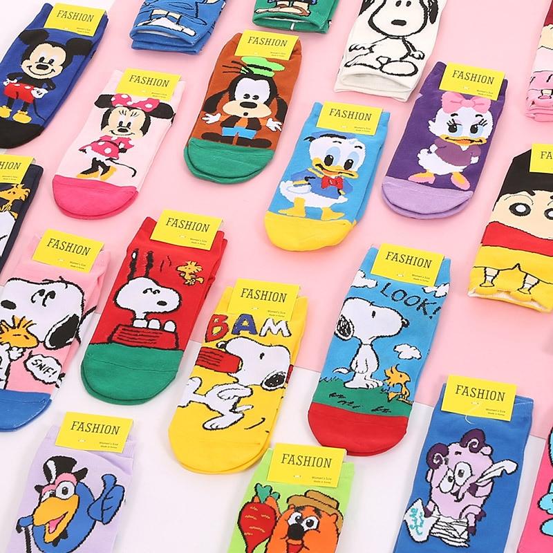 5 Pairs/Lot Women Cut Short Socks Cartoon Pikachu Disney Character Funny Pattern Mickey Crayon Simpson Cotton Ankle Socks