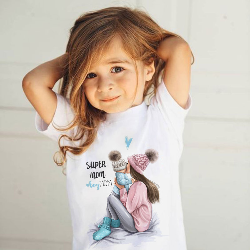 ZZSYKD Summer Super Mom Baby Girl Tshirt Vogue Boys T Shirts Mother And Baby Love Life Lovely Printi