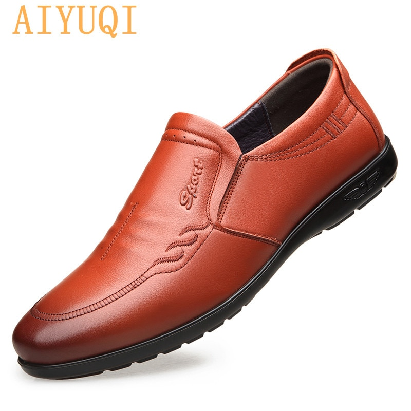 AIYUQI Loafers Men Genuine Leather 2021 Latest Fashion Soft-soled Mens Shoes Breathable Round Toe Non-slip Casual