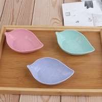 appetizer plates wheat straw soy sauce dish tableware food container creative leaves dish baby kid bowl rice bowl plate
