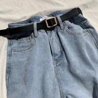 retro womens leather belt without holes waistband square metal buckle fashion cinturon women dress jeans luxury female belts