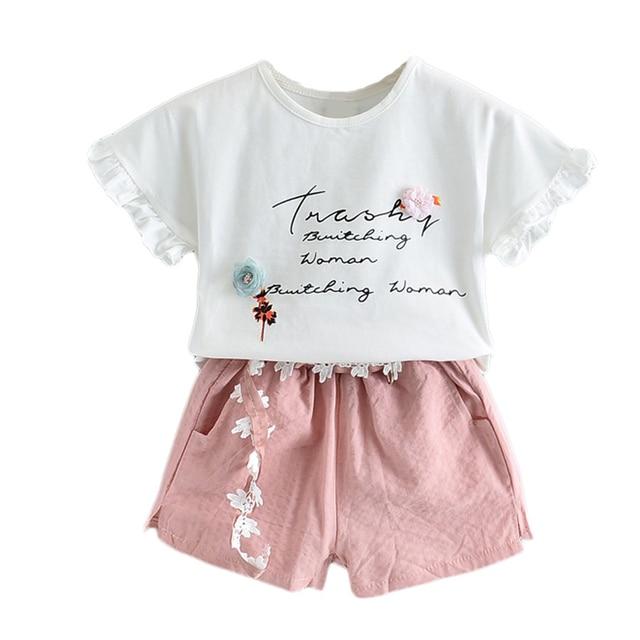 2PCS Cute Girls Sets Clothes Summer Floral Children Clothing Sleeveless T-shirt+Shorts Kids Suit Fashion 3-7T Children Clothes 4