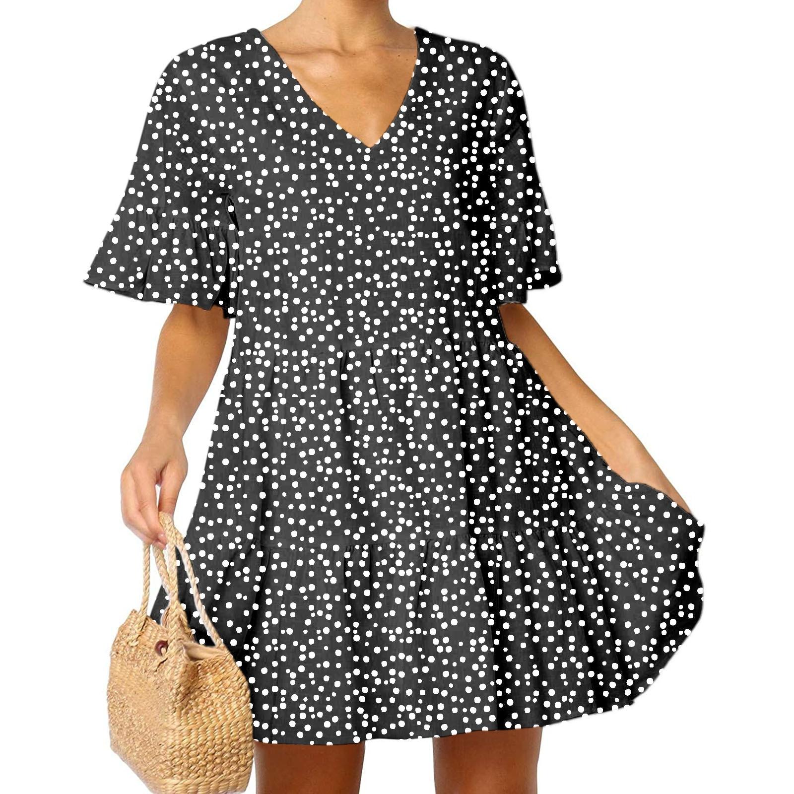 40# Leopard Ruffle Dress Woman Flare Sleeve V Neck Loose Tunic Mini Dress With Pockets Oversized Summer Dress 2021 Vestidos
