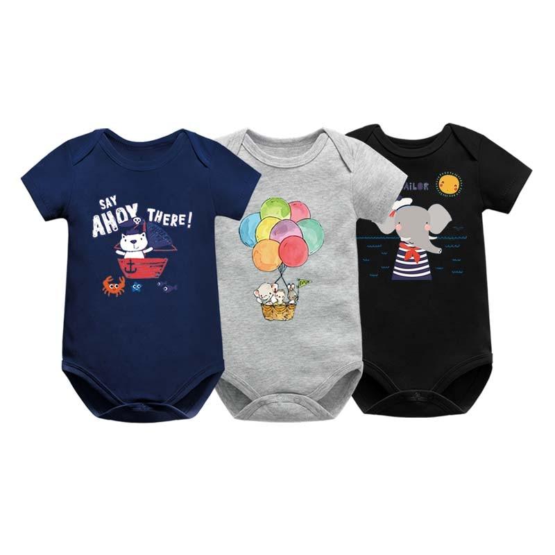 Newborn Bodysuits Baby Girl Clothes Summer Short Sleeve Cute Cartoon Pink Print Infant Clothing