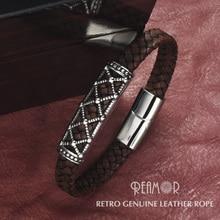 REAMOR Fashion Bracelets 2019 Retro Genuine Leather Stainless Steel Hollow Bead Bracelet Women Men Cuff Bangles Wholesale