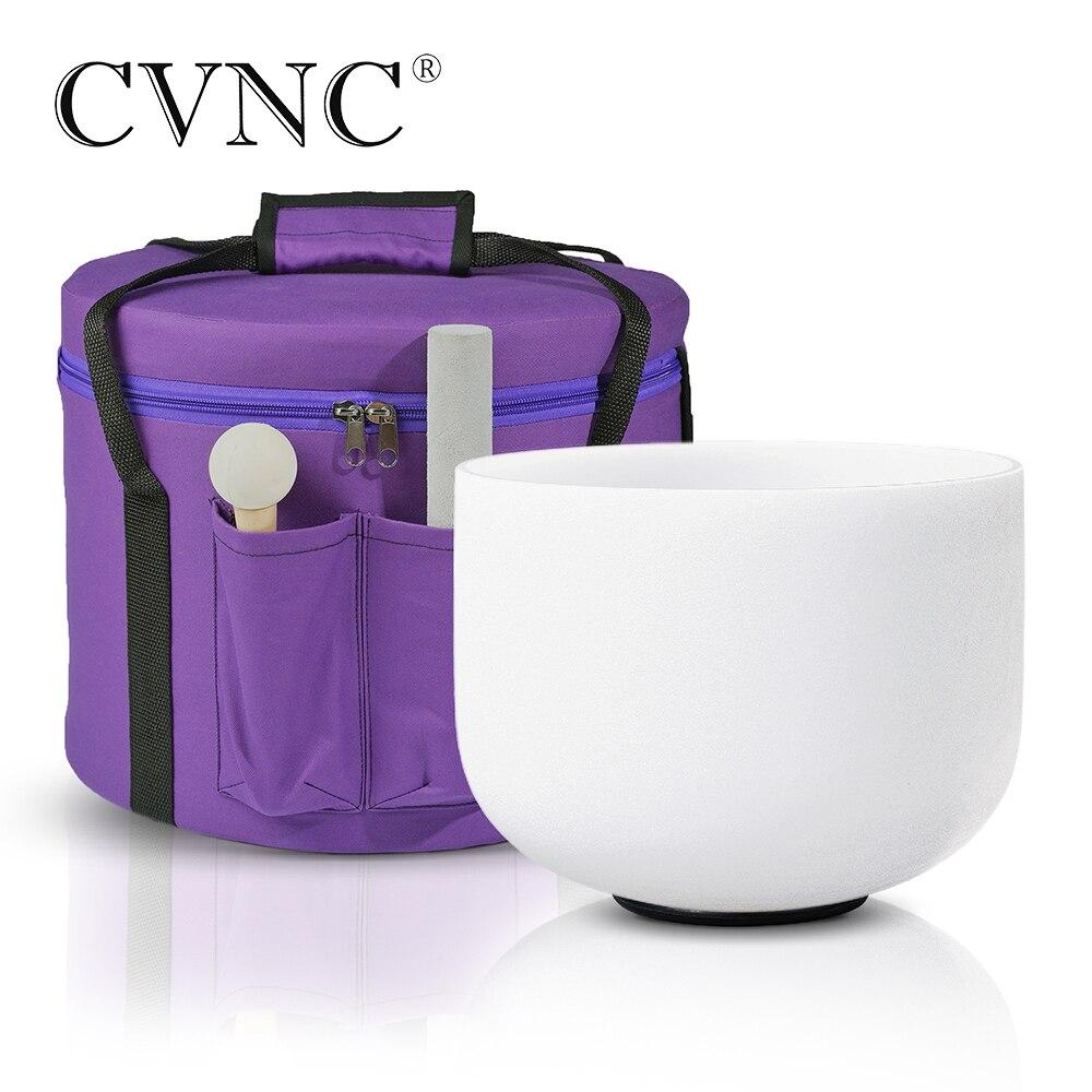 """CVNC 8 """"Note C/ D/ E/ F/ G/A/B tazón de Canto de cristal de cuarzo esmerilado + bolsa de transporte púrpura"""