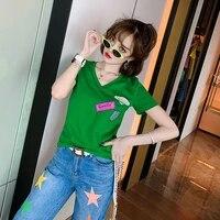 2021 summer new cotton v neck t shirt womens letter printing slim slim joker short sleeve