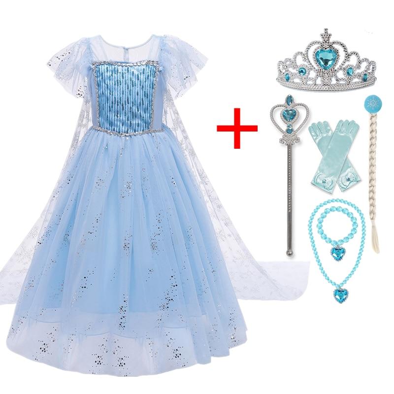 2021 Summer Anna Elsa Dress Wedding Evening Princess Costume Kids Birthday Party Dresses for Girls Dress Up Size 4-10 Years