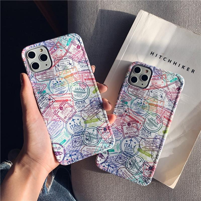 Ins passaporte selo pintado caso de telefone para iphone 11 11pro max xs max x xr matte macio silicone tpu caso para iphone 7 8 7 plus