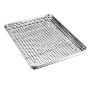 Dedicated Double-Layer Stainless Steel Baking Tray Grill for Household Ovens Grid Oil Filter Pan Food Tray,Bakeable Nonstick Coo