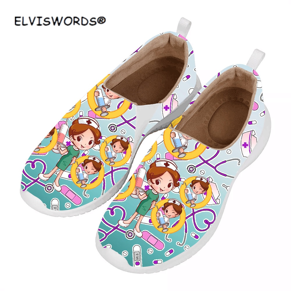 ELVISWORDS-zapatillas de deporte para mujer con diseño de enfermera, Zapatos Planos de...