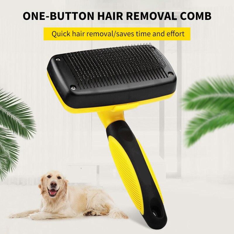 Auto limpo escova de cabelo do cão slicker confortável pequeno grande cão pente pet grooming ferramentas gato se encaixa vários cabelos