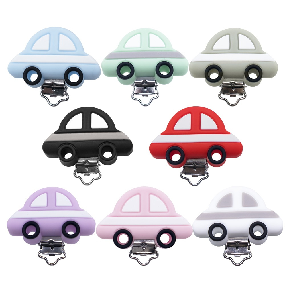 10 Pcs Silicone Pacifier Clips Baby Edible Silicone Car Shape Soother Clip Chewing Nursing Accessory for DIY Napple Chain