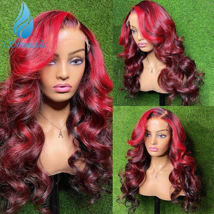 SMD Ombre Red Color 13*4 Lace Front Human Hair Wigs Highlight Peruvian Remy Hair Body Wave Glueless 4*4 Lace Wig with Baby Hair