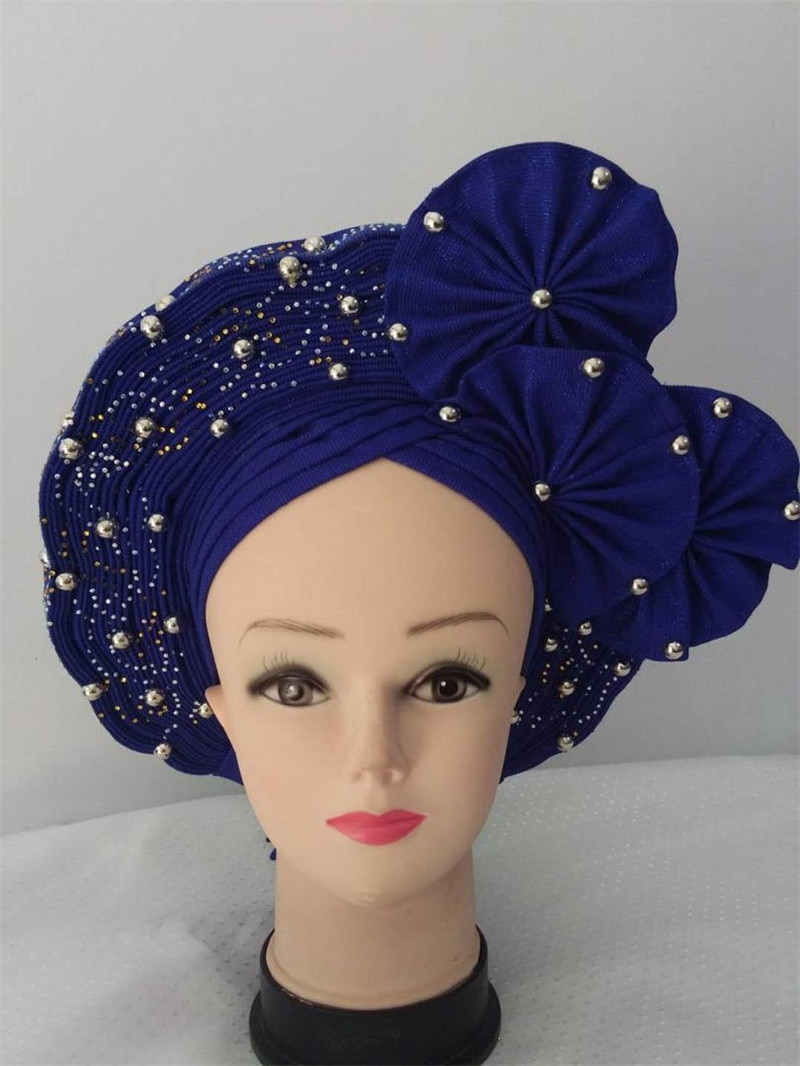 New Style Nigerian Yellow Gele Headtie Aso Oke Gele Already Made Auto Gele Aso Ebi Headtie African Turban Cap with Colorful Bead