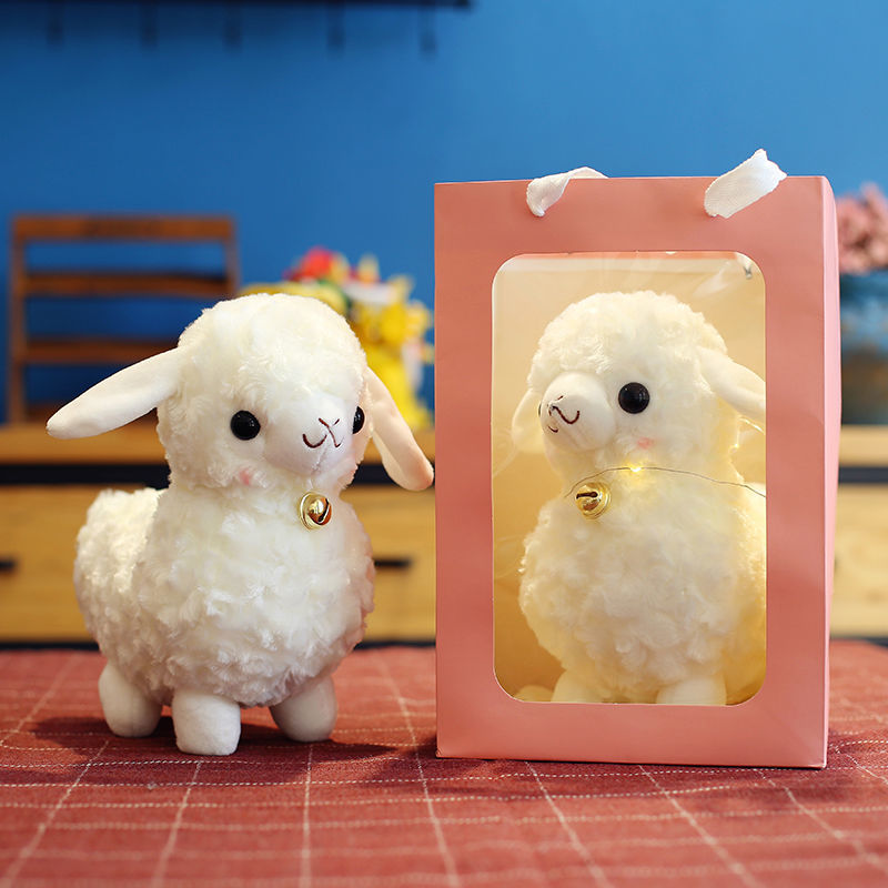 New super cute and cute simulation small wool plush toy doll alpaca doll decoration children's birthday gift girl cute resin bride and bridegroom toy doll