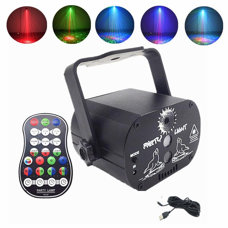 Мини RGB дискотека свет DJ светодиод лазер сцена проектор красный синий зеленый лампа USB аккумулятор Рождество свадьба день рождения вечеринка DJ лампа