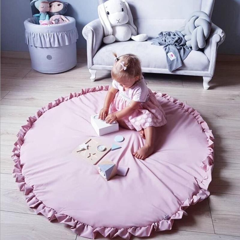 Ins nórdico bebé Mat plegable niños arrastrándose por la manta almohadilla de alfombra redonda alfombra juguetes de los niños de algodón de piso de la sala de foto de Decoración Accesorios