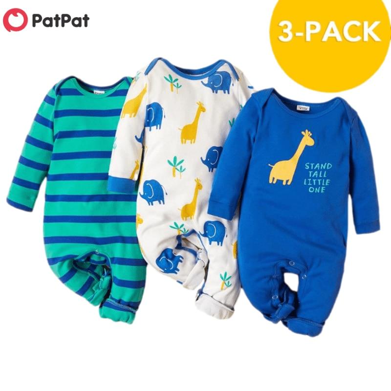 PatPat 2021 جديد وصول الخريف والشتاء 3-حزمة الطفل الزرافة حللا مجموعات طفل رضيع و فتاة الملابس قطعة واحدة