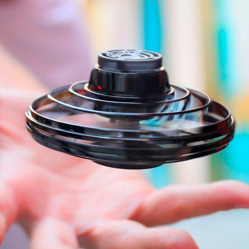 Flynova Mini Fidget Finger Spinner volador giroscopio de retorno para juegos al aire libre platillo UFO juguete LED intermitente para niños y adultos