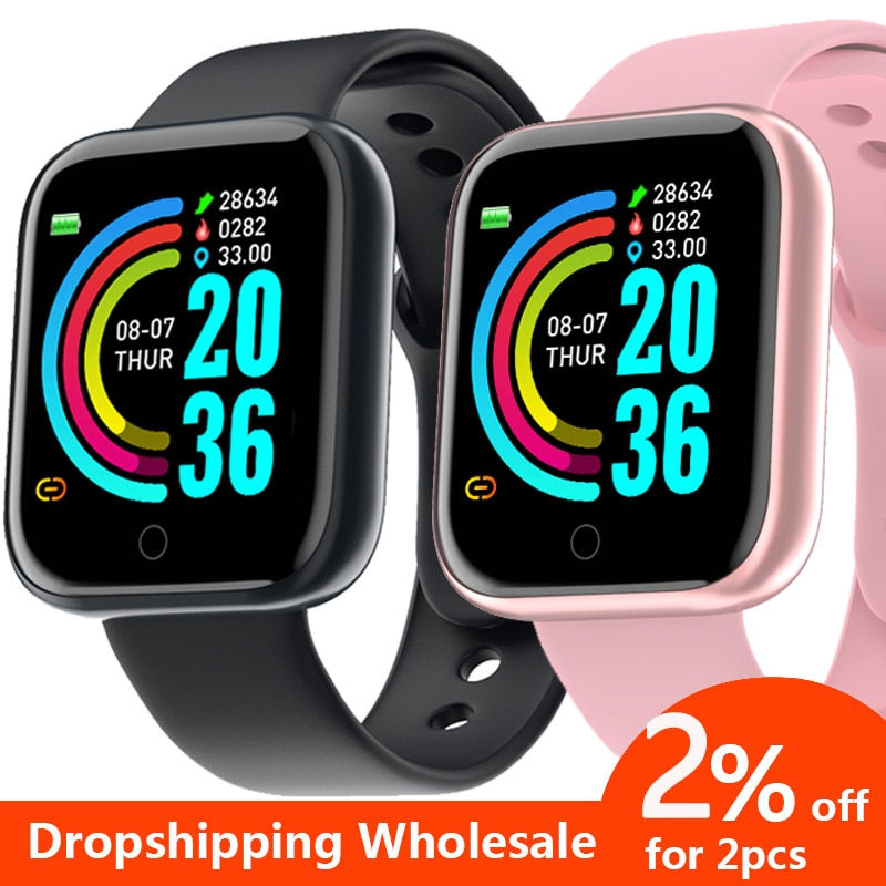 Sport Smart Watch Men Women Wristwatch 2020 Fitness Tracker Y68 D20 Smart Watch For Android IOS Heart Rate In Stock Dropshipping