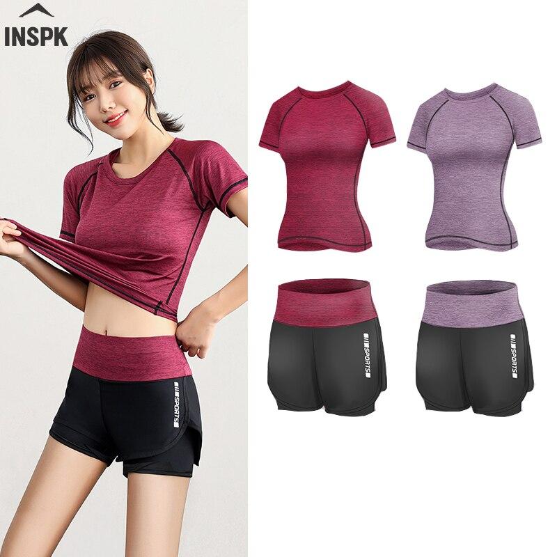 Pantalones cortos deportivos de cintura alta para mujer + camiseta, conjuntos de ropa de Yoga elásticos para Fitness, conjunto de gimnasio de 2 piezas para entrenamiento de carrera Push Up
