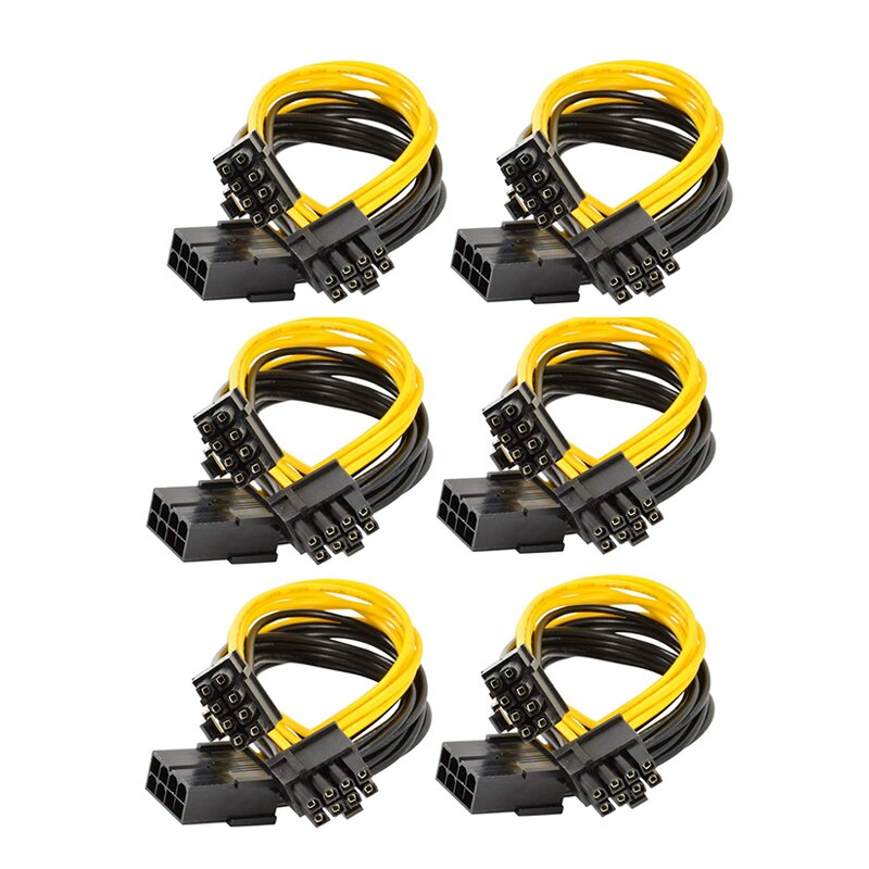 pcie 8 pin female to dual 2x 8 pin 6 2 male pci express power adapter y splitter extension cable 6PCS GPU VGA PCIe 8 Pin Female To Dual 2X 8 Pin (6+2) Male PCI Express Power Adapter Y-Splitter Extension Cable 9-inch(23cm)