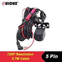 QUIDUX HD Nachtsicht hintere kamera mit 5,7 meter kabel fahrzeug kamera Wasserdicht zurück cam für Dual Objektiv Android Auto DVR