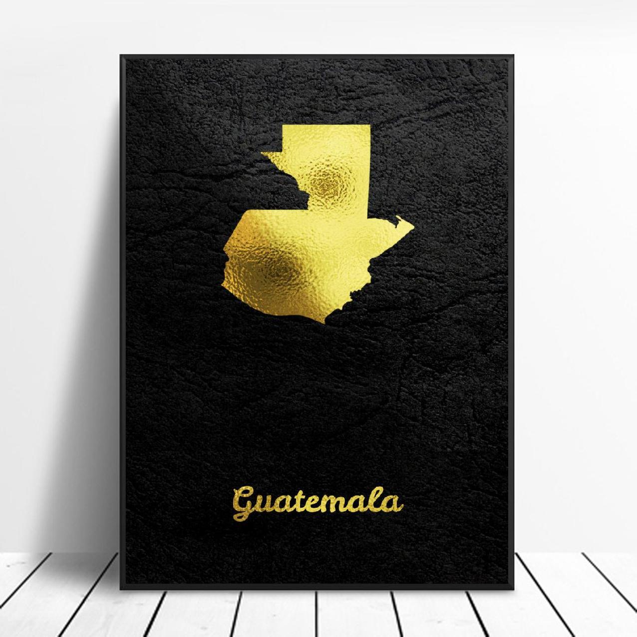 Pintura en lienzo con mapa dorado de Guatemala, impresión artística, póster, pared moderna, minimalista, decoración para dormitorio y sala de estar