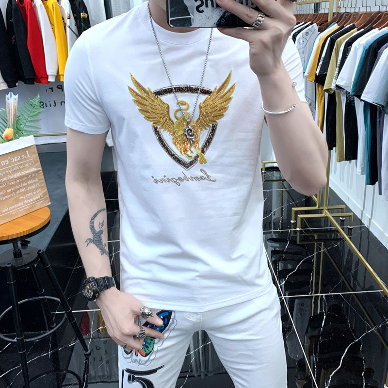 Summer trend heavy industry flying cow embroidery short-sleeved t-shirt men's fashion self-cultivation net red ins shirt