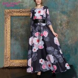 S. sabor vintage floral impressão vestido longo outono inverno novo o-pescoço elegante retro boho longo vestido feminino festa de inverno vestidos