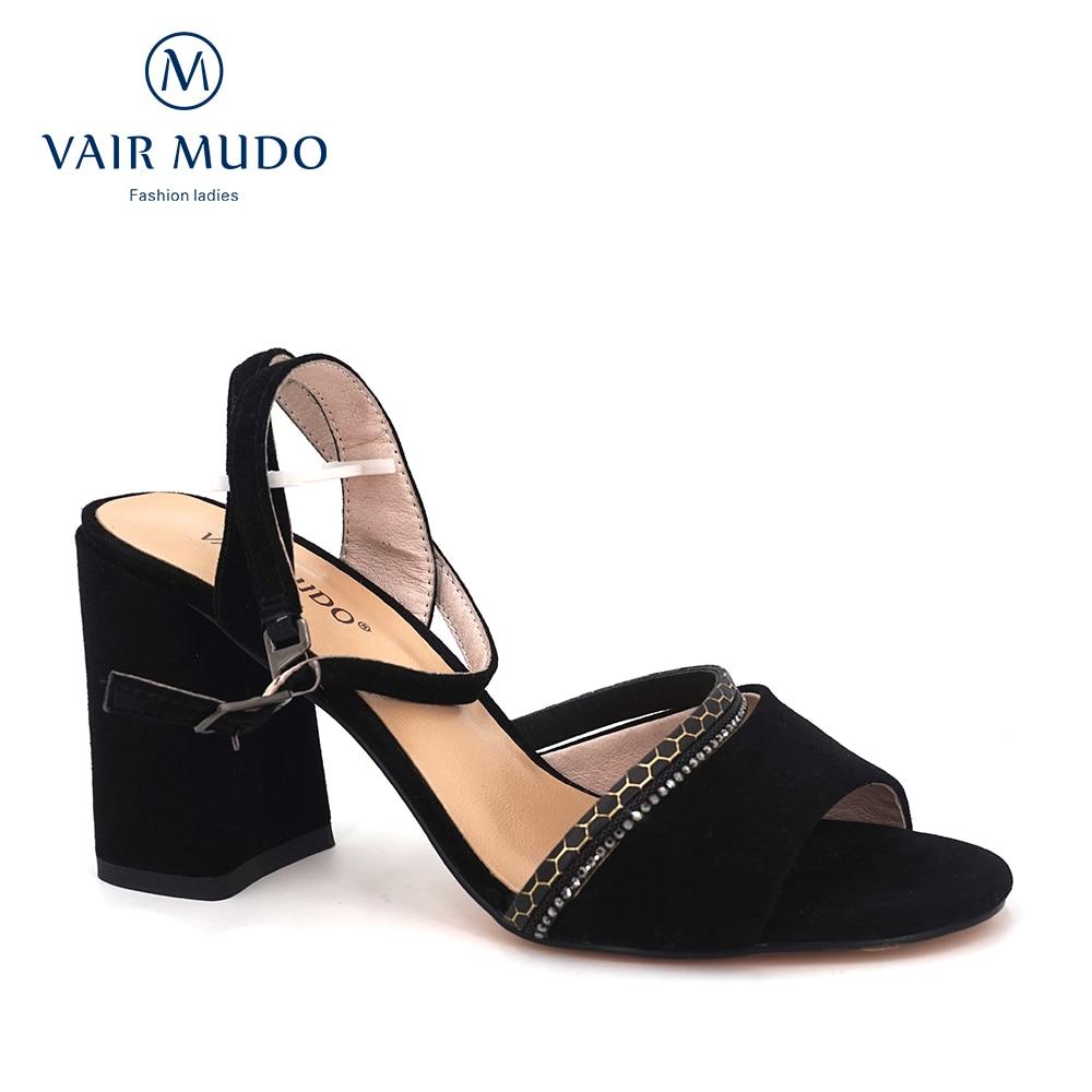 VAIR MUDO 2020 New Women's Sandals Sheep Sandals Square Ultra High Heel White Decorative Stone Line Decorative Sandals LX6