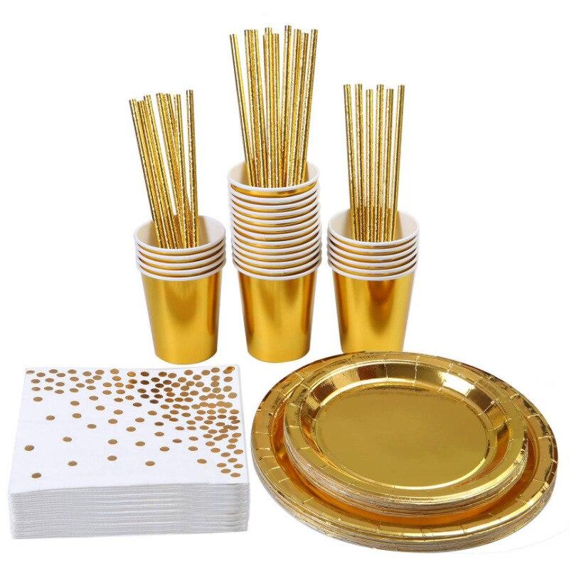 100 pçs azul dourado ouro festa talheres copo placa guardanapo palha festa de aniversário casamento decoração 030 Talheres de festa descartáveis    -