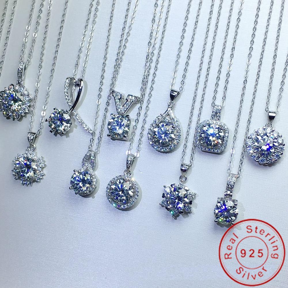 Charme 925 pingente de prata esterlina laboratório diamante cz festa noivado pingentes colares para as mulheres presente de jóias de casamento nupcial