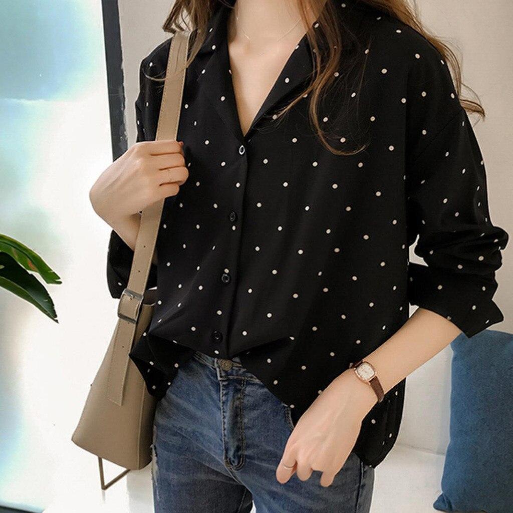 Moda kadın gömlek Vonda rahat uzun kollu Polka Dot Turn-down yaka Casual Tops düğme gömlek Blusa Mujer рубашка женская