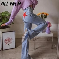 allneon fashion high waist stitch flare pants 90s aesthetics five pointed star denim trousers slim streetwear vintage blue