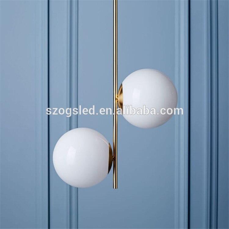 Shenzhen Oriental Diy doble leche blanca Pantalla de Cristal lámpara de oro para Hotel luminaire suspendu