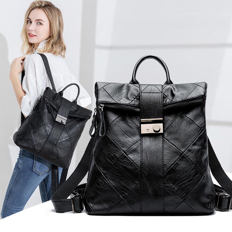 AliExpress - 2021 New Women's Backpack Bag High Capacity Schoolbag Versatile Fashion Backpack Shoulder Bag Soft Leather for Girls Ladies