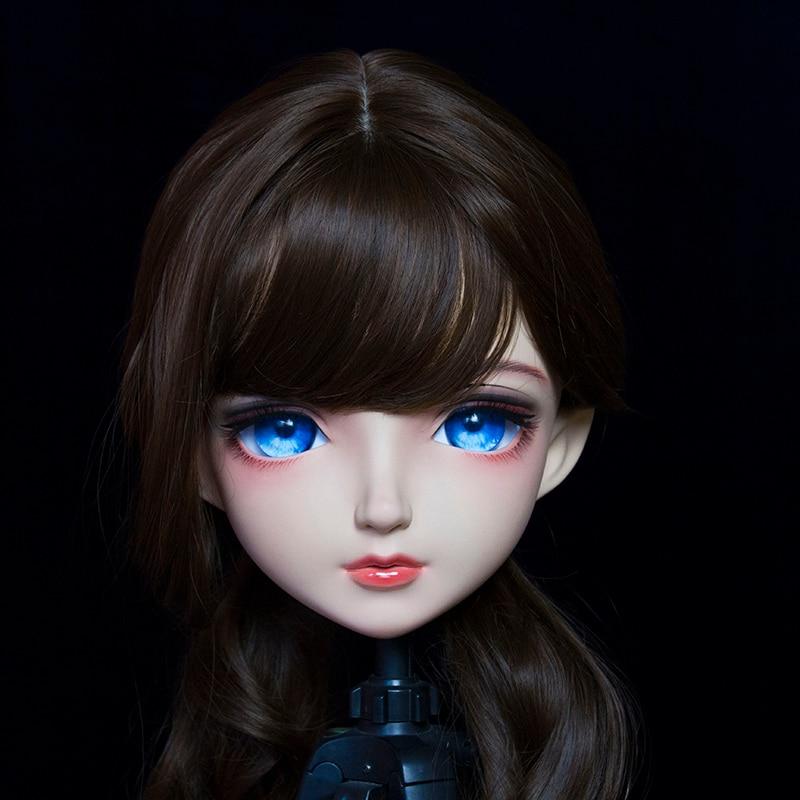(KM2001) hecho a mano mujer/chica resina japonesa de dibujos animados personaje Anime Cosplay máscara de kigurumi Crossdress transgénero máscara de muñeca