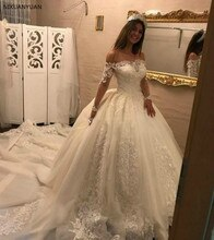 Robe De mariée princesse 2020 Vestido De Noiva robes De mariée Robe De Mariage hors De lépaule manches longues saoudien arabe longue Train