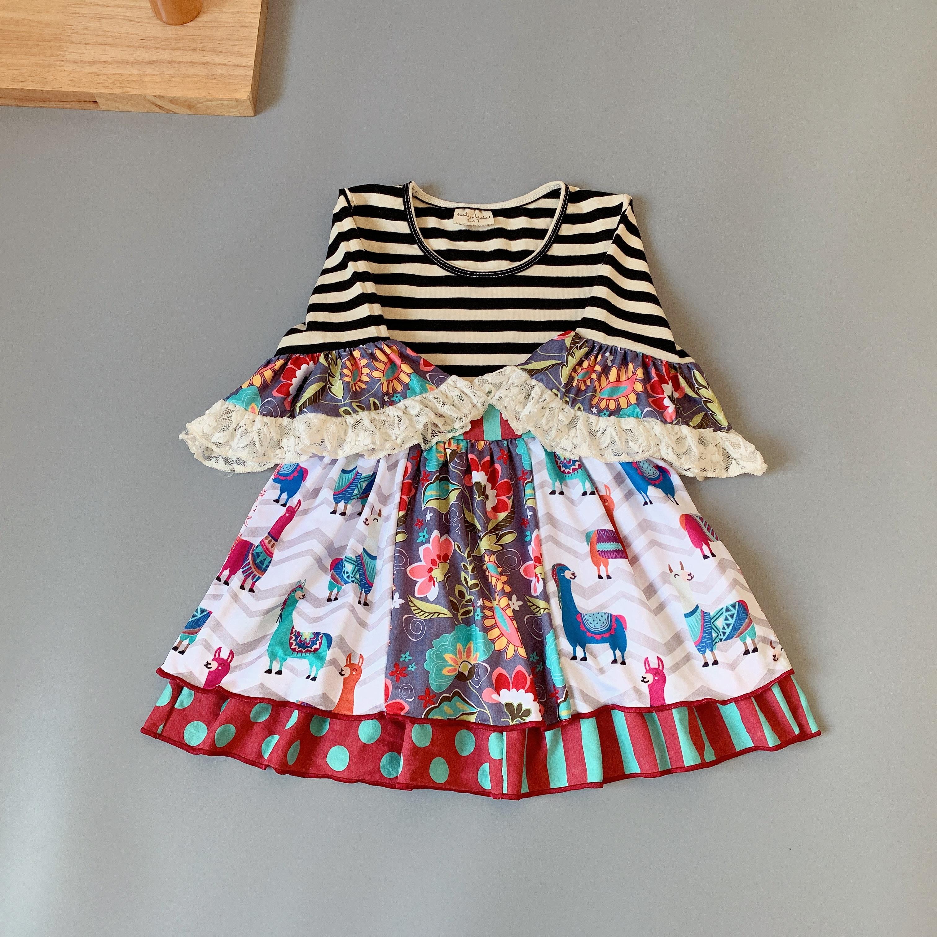 100% de algodón para niños otoño rayas blancas y negras vestido para niñas gran oferta nuevo vestido de estilo para el presente