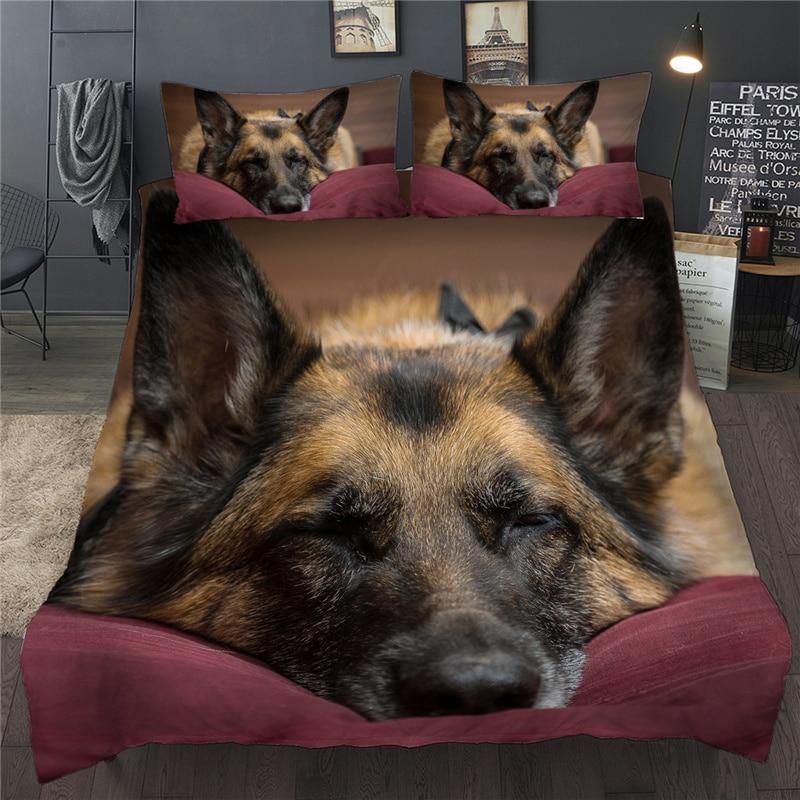 ثلاثية الأبعاد لحاف مطبوع مجموعة غطاء كلب الحيوان طقم سرير واحد مزدوج التوأم كامل الملكة سرير حجم كينج الملابس للكبار الطفل غطاء السرير