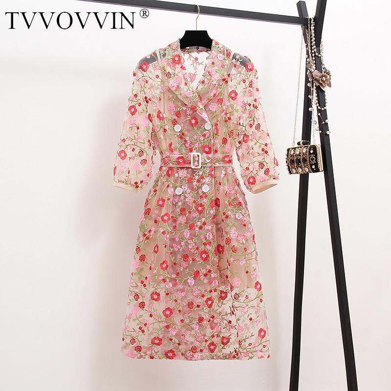 Gabardina Vintage de gasa con bordado de flores, gabardina de mujer con doble botonadura y mangas abullonadas, cinturón de malla, abrigo largo L395
