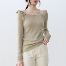 Women's Pullover Blouse Long-sleeved Off Shoulder Knitted Sweater 2021 Autumn Thin Slim Office Lady