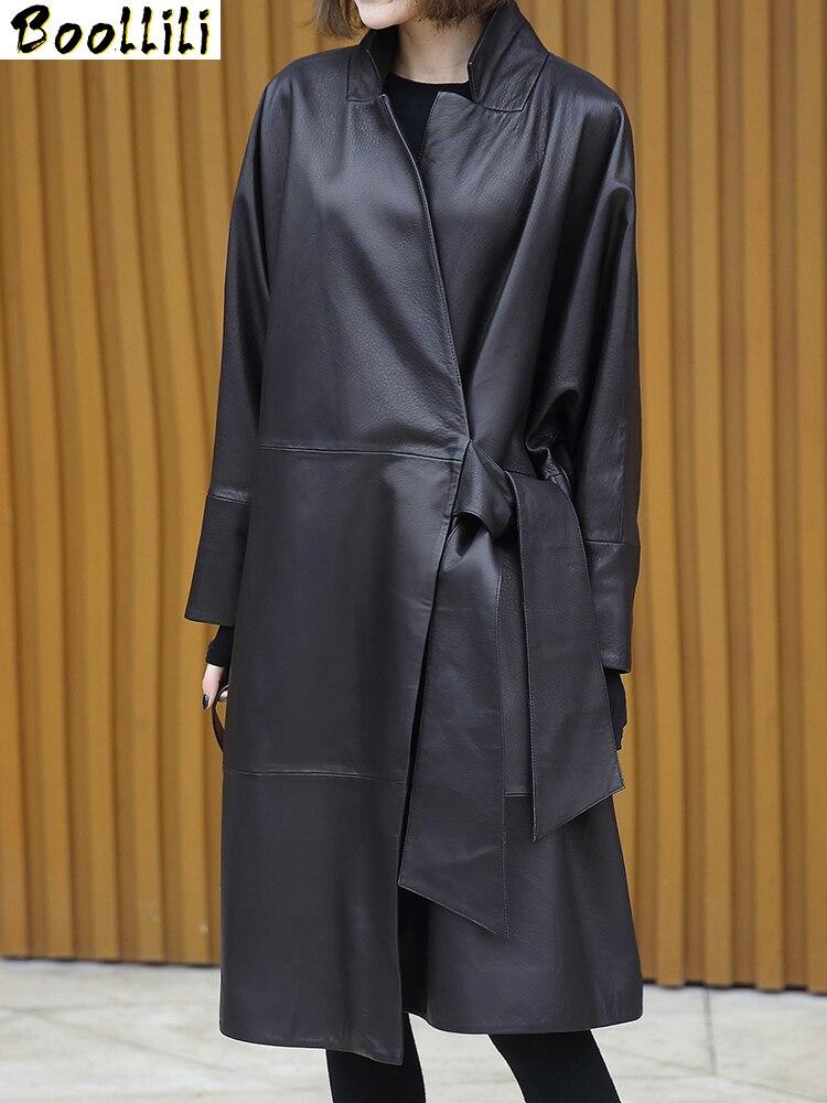 Boollili-سترة من الجلد الطبيعي 2020 ، معطف من جلد الغنم ، ملابس نسائية ، معطف من الجلد الطبيعي ، معطف نسائي مقاوم للرياح ، ربيع وخريف